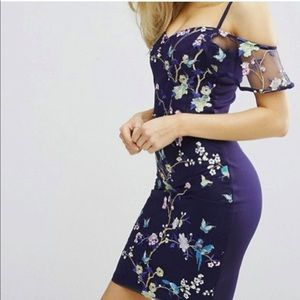 Lipsy Cold Shoulder Embroidered Cami Dress